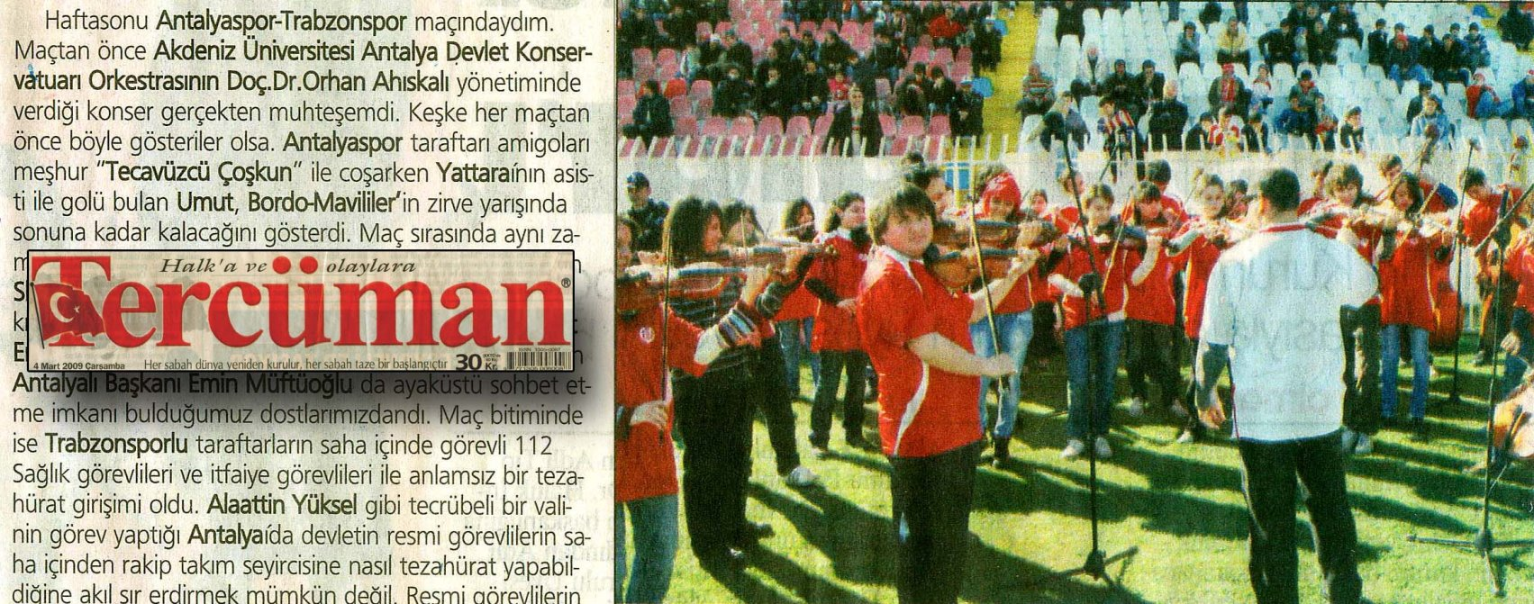 Stadium concert news stuck in a little corner of the sports page, Tercüman, 4 March 2009